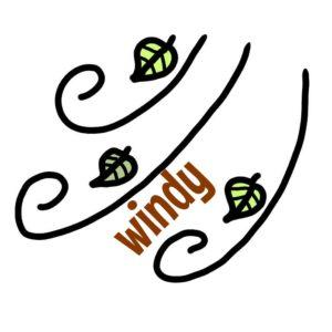 風 windy イラスト