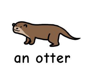 カワウソ otter 英語 イラスト